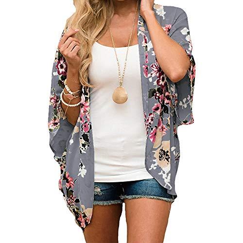 FIRERO Floral Kimono Cardigan Light Chiffon Loose Half Sleeve Shawl Chiffon Cardigans for Womens Gray -