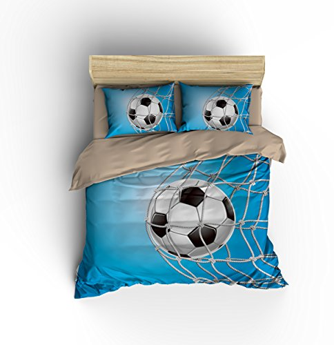 DIY Duvetcover Perfect Blue Sky Football Soccer Cotton Microfiber 3pc 80''x90'' Bedding Quilt Duvet Cover Sets 2 Pillow Cases Full Size by DIY Duvetcover