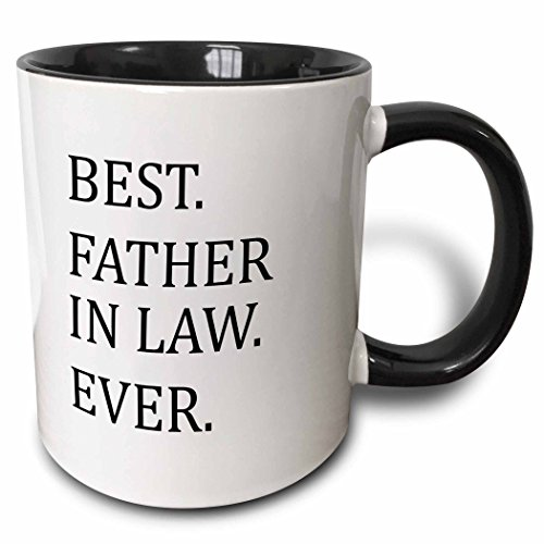 3dRose 151498_4 Best Father Ever-Fun Humorous Gifts for The in-Laws Mug, 11 oz, Black