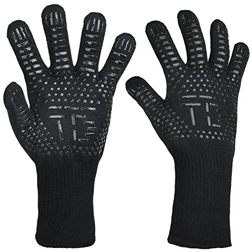 TDYNASTY DESIGN BBQ Grilling Cooking Gloves 932°F Extreme Heat Resistant Oven Mitts Barbecued Glove Cooking,Grilling,Baking by TDYNASTY DESIGN