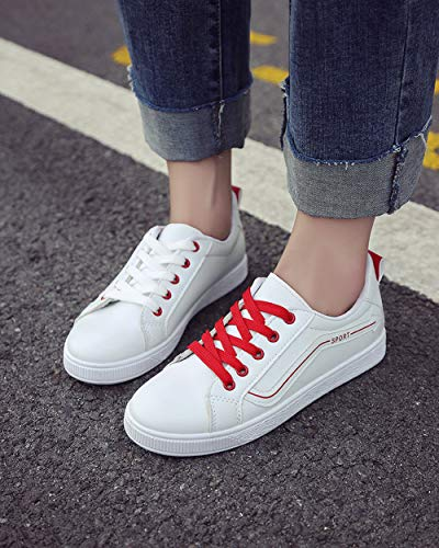 Stringate Donna Dreneco Scarpe Rosso Da Sneakers Passeggio Casual gZxCqTw