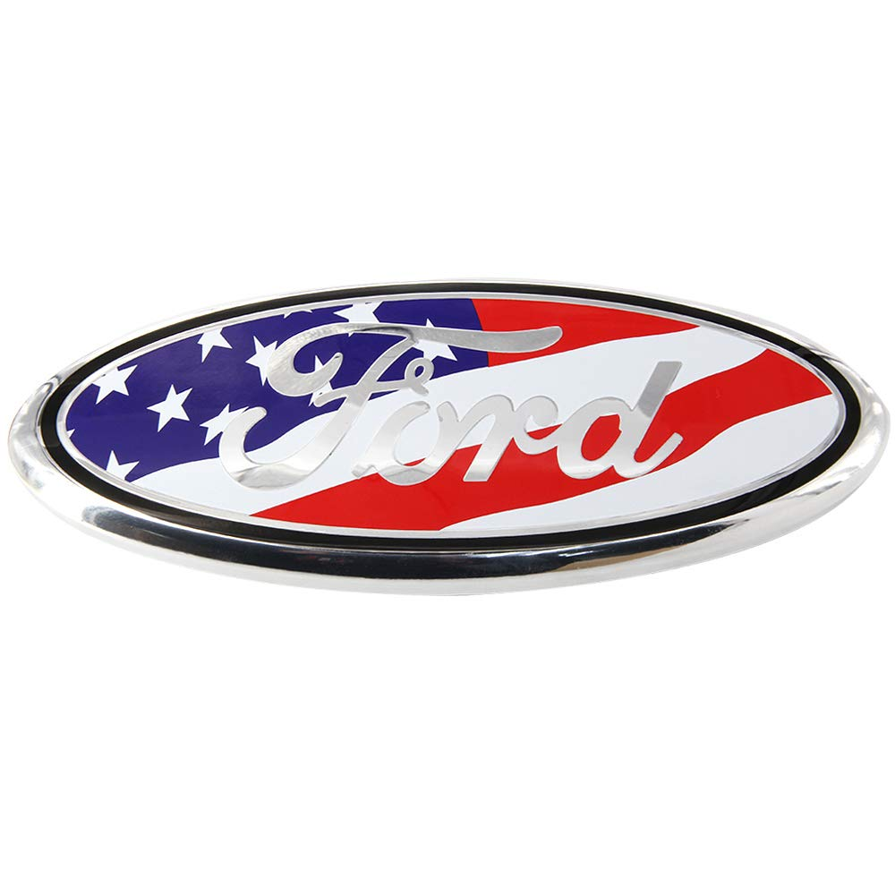 11-14 Edge American Flag, 9inch 11-16 Explorer Luyishi Front Tailgate Emblem,Oval 9X3.5 Inch Front Grille and Rear Tailgate Emblem for Ford 2004-2014 F150 06-11 Ranger 2005-2007 F250 F350