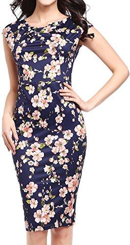 LunaJany Women's Cap Sleeve Floral Print Wear to Work Office Sheath Pencil Dress