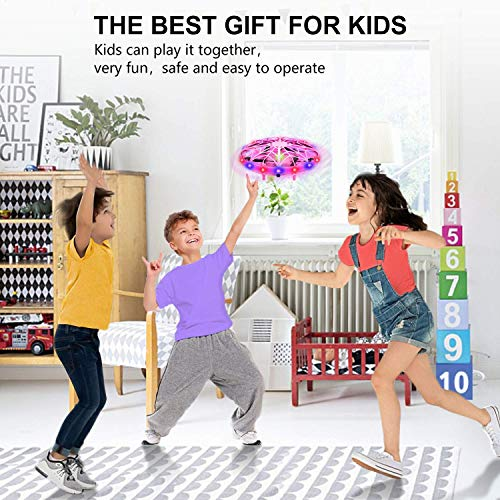UTTORA Drones for Kids Hand Operated UFO Drone Remote Control Kids Drone Helicopter with Lights Flying Toys Gifts for Boys and Girls Outdoor Indoor Toys