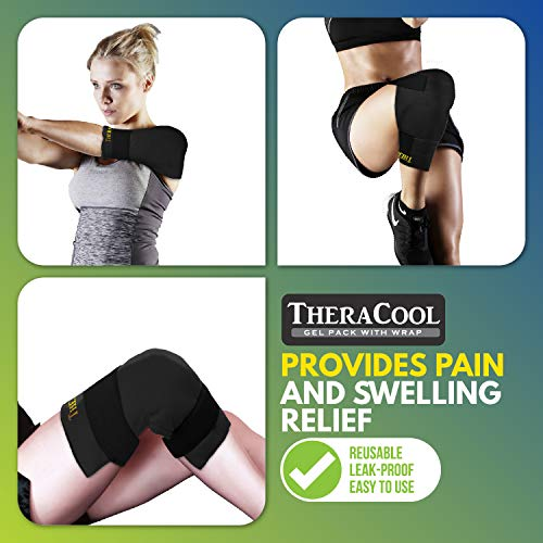 Ice Packs for Injuries Reusable Large Hot Cold Gel Pad Wrap w/Strap for Back Knee Shoulder Rotator Cuff Hip Replacement Elbow Arthritis Surgery Pain Relief Flexible Recovery Bag 14 x 11 by TheraCool by TheraCool (Image #3)