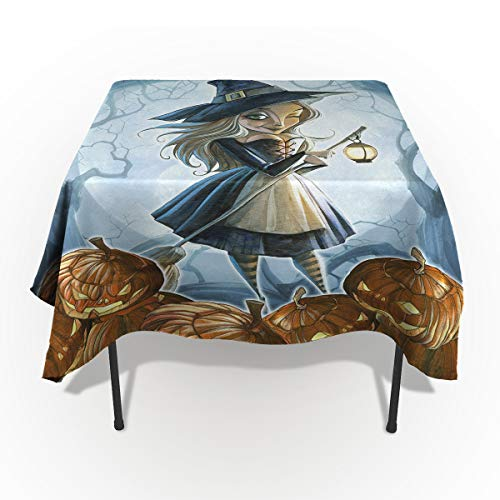 60 x 60 Inch Rectangle Tablecloth - Halloween Witch Girl and Pumkin Rectangular Polyester Table Cloth Table Covers Linen Decor - Great for Kitchen Table, Parties, Holiday Dinner, Wedding & More ()