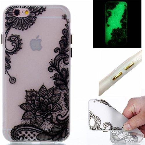 Voguecase Für Apple iPhone 6 Plus/6S Plus 5.5 hülle, Schutzhülle / Case / Cover / Hülle / TPU Gel Skin mit Nachtleuchtende Funktion (Lace Blume 09/Schwarz) + Gratis Universal Eingabestift