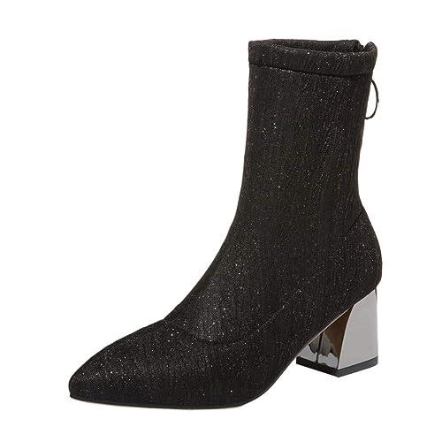 OHQ Botines Martin Mujer Ocio Calcetines Puntiagudos Zapatos Antideslizantes TacóN Grueso EláStico Botas Martin Zapatos Mujeres Tacones Negro Rojo Beige ...