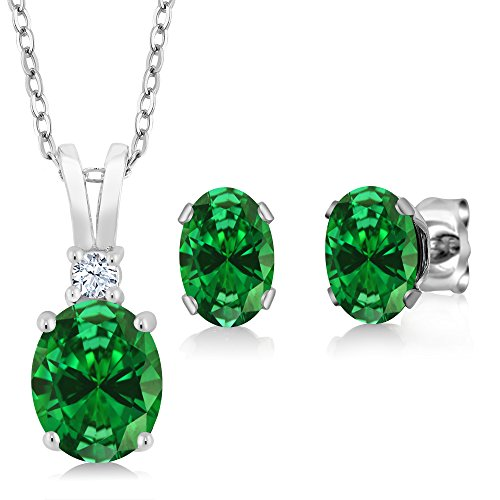 Emerald Set Jewelry Box - 4.63 Ct Oval Green Simulated Emerald 925 Sterling Silver Pendant Earrings Set