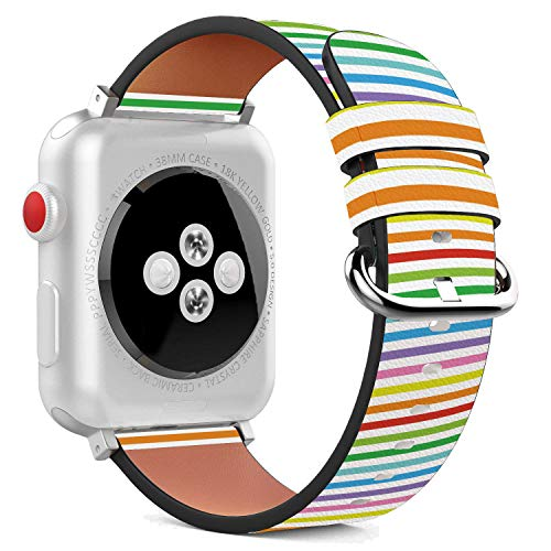 (Compatible with Apple Watch - 42mm Leather Wristband Bracelet with Stainless Steel Clasp and Adapters - Rainbow Horisontal Stripes)