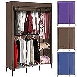 Tomasar Clothes Closet Portable Wardrobe Closet Organizer Storage Double Rod Closet (Coffee)