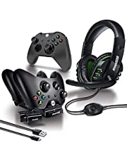 dreamGEAR 8 in 1 Gamers Kit for XBOXONE: Includes Charging Dock/USB/Gaming Headset/Protective Covers and (2) 800 mah Rechargeable Batteries (6631)