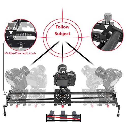 ASHANKS S2 0.8m/2.6ft Track Camera Slider Carbon Fiber Adjustable Angle Tube Follow Focus Pan for Stabilizer DV DSLR Camera Youtube Video Shooting (System Tube Balance Weight)