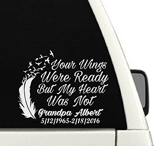 Your Wings Were Ready But My Heart Was Not Memorial Car Decal / In Loving Memory Of Decal - Memorial Wall Dc