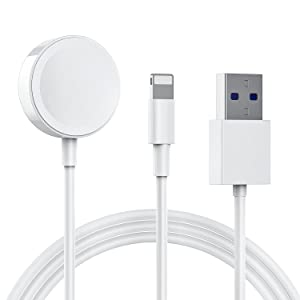 [2m] Watch Charger, 2 in 1 Magnetic Charging Cable for Apple Watch Series SE/6/5/4/3/2/1 and iPhone12/11/Pro/Max/XR/XS/XS Max/X/Pad Series