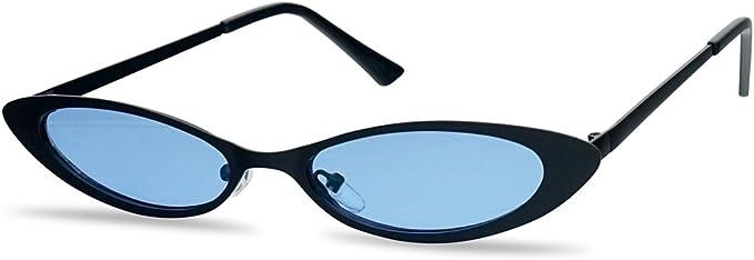 Small Skinny Sunglasses Oval Rims Behind Lens Womens Fashion UV 400