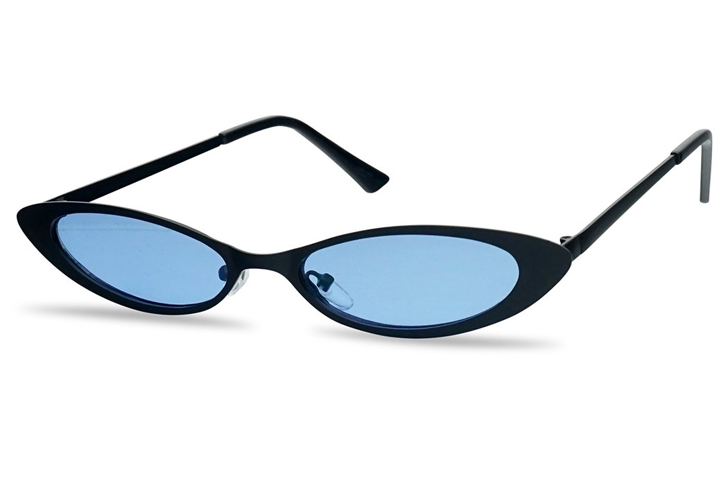 Colorful Tinted Cat Eye Sunglasses Small Narrow Oval Vintage 90's Shades (Black Frame | Blue) by SunglassUP