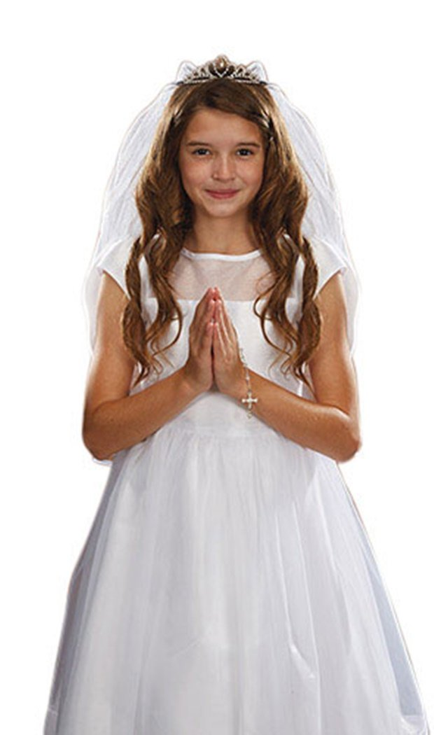Sacred Traditions Girls First Communion White Satin and Tulle Veil with Crystal Tiara, 26 Inch Christian Brands Catholic
