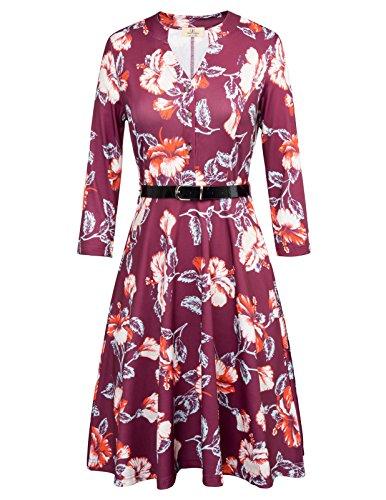 Belted Floral Belt (Elegant Fall Women Floral Long Sleeve Dress Belt Size M Wine Red)