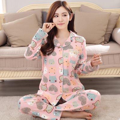 MH-RITA Nuevo Invierno Pijamas Mujer Algodón Dama Mujer pijamas conjuntos pijamas Floral Pocket Femme