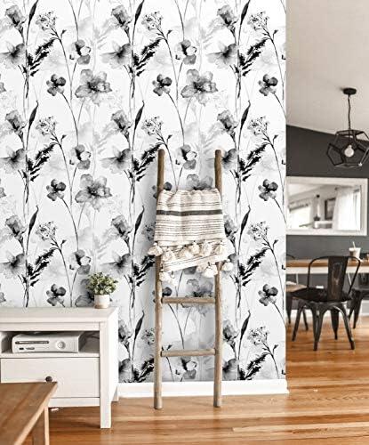 Fleefilo はがせる壁紙 壁紙シール モノクローム 水彩 黒 白い 花 柄 壁 シール リメイクシート DIY FL1830 (FL1830, 45cm x 5m)