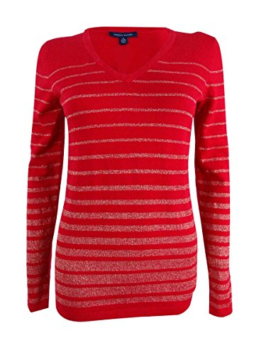 Tommy Hilfiger Women's Striped Metallic Sweater (S, Red/Gold) (Tommy Hilfiger Sweater Red Women)