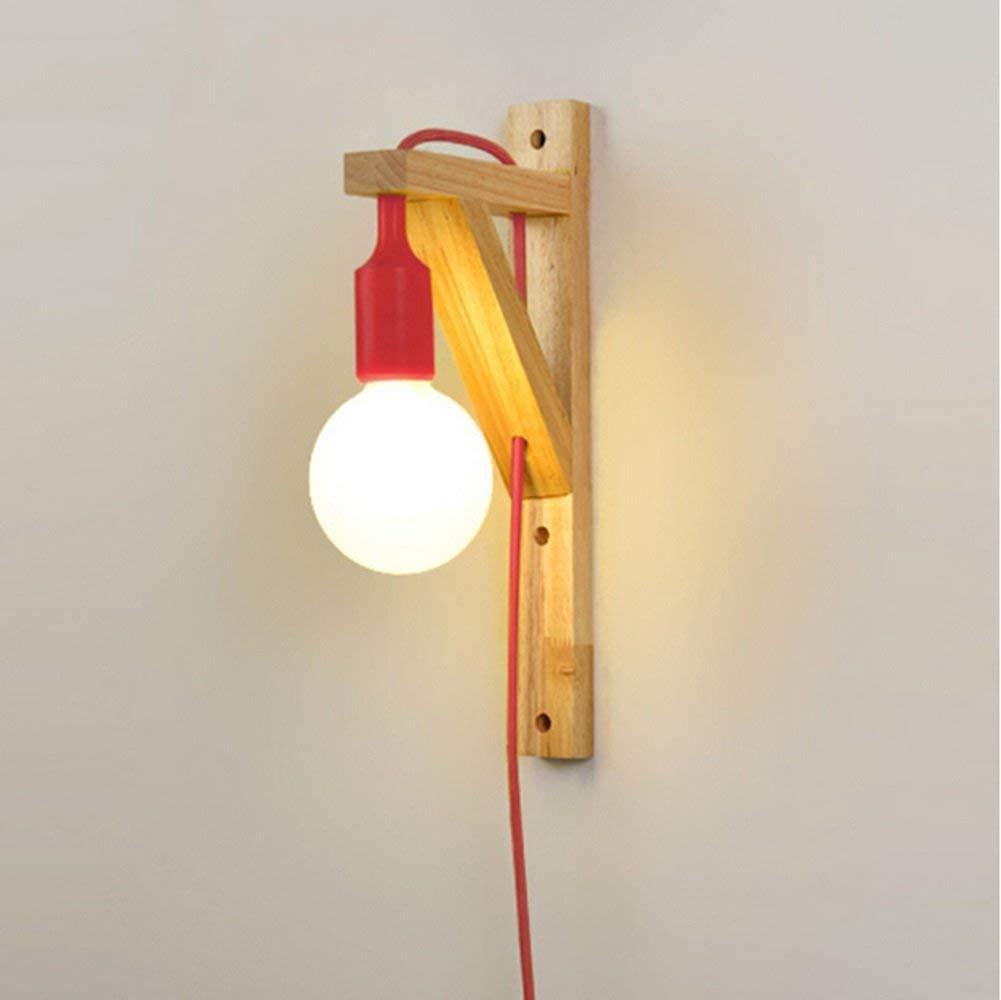 Xiao Yun    led massivholz Wohnzimmer Nacht Studie Gang treppen Flur Einfach Mit stecker E27  1 (Farbe  Rot)