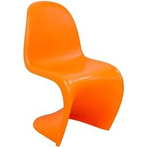 Mod Made Mid Century Modern Molded Plastic S Shape Chair Dining Chair,  Orange