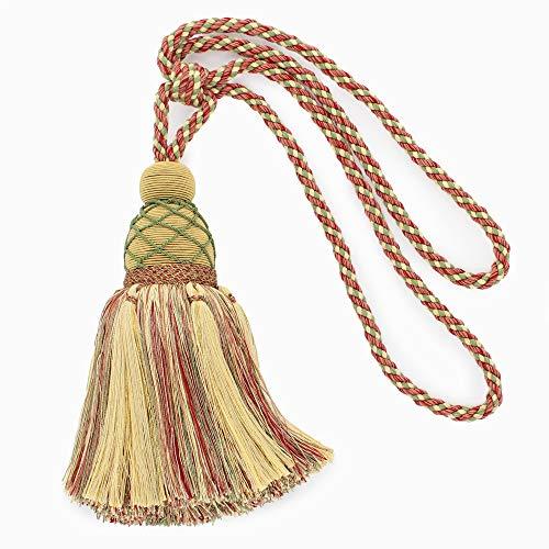 Large Elegant |Pastel Green, Yellow Maize, Light Brick Red|Curtain and Drapery Tassel Tieback|9 1/2