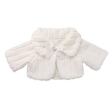 ACSUSS Little Big Girls Wedding Bridesmaid Faux Fur Shawl Wraps Bolero Flower Dress Cover Up Beige