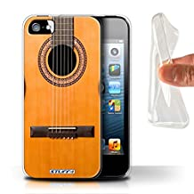 STUFF4 Gel TPU Phone Case / Cover for Apple iPhone SE / Wood/Wooden Acoustic Design / Guitar Collection