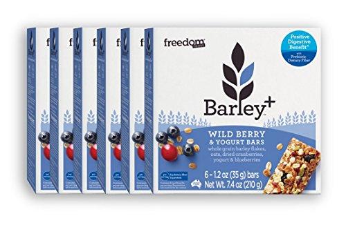 Freedom Foods Barley+ Wild Berry & Yogurt Bars - With Prebiotic Fiber to Promote Good Gut Health - 100% Natural, Non-GMO Ingredients (6 Box Bundle, 36 Total Bars)