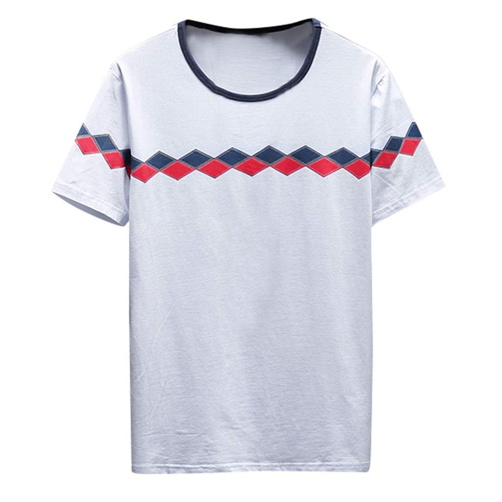 RoDeke Men's Summer Fashion Casual Slim Fit T Shirts Short Sleeve Geometry Print Round Neck Blouse Tops M~3XL White