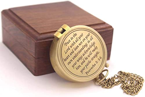 Roorkee Instruments India Be Strong and Courageous Do not be Afraid,Engraved Compass W//Wood Case Baptism Gifts Confirmation Gift Ideas