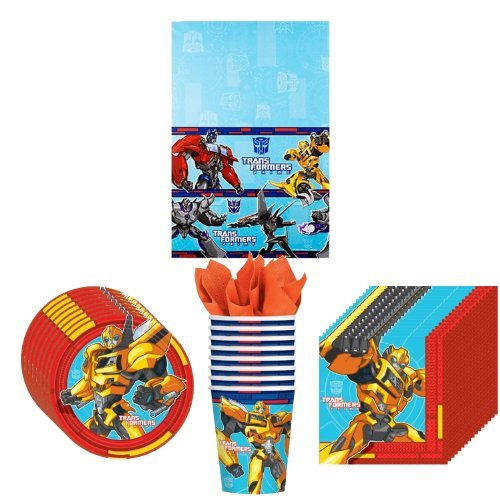 Transformer Prime Party Supplies Pack Including Plates, Cups, Napkins and Tablecover - 8 Guests