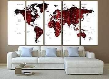 amazon プッシュピン 抽象ワールドマップworld map with国キャンバス