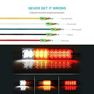 MICTUNING 20 LED Trailer Tail Lights Bar Waterproof, DC12V Turn Signal and Parking Reverse Brake Running Lamp for Car Truck Red Amber White (2 Pack): Automotive