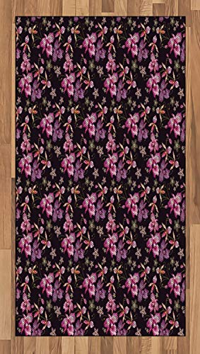 Ambesonne Orchids Area Rug, Retro Wild Flowers Surreal Paradise Petals Classic Motif Vintage Print, Flat Woven Accent Rug for Living Room Bedroom Dining Room, 2.6 x 5 FT, Black Coral and Pink