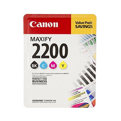 CanonInk MAXIFY PGI-2200 4 Color Multi Pack Ink Black Cyan Magenta Yellow