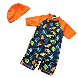 Sun Protective Toddler Boys Swimsuit Toddlers One Piece Swimwear With Hat Shark Rash Guard Surfing Suit UPF 50+