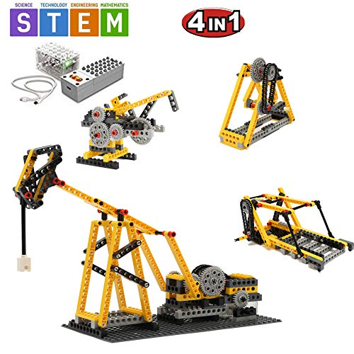 SEIGNEER 4 in 1 Power Machinery Beam Pumping Unit Building Set Education Toy 178 Pieces Storage Box