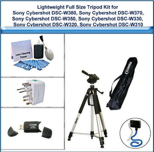 Lightweight Full Size Tripod Kit includes 72 Inch Tripod, Flexible Monopod, Universal Adapter, 5PC Lens Cleaning Kit, and USB 2.0 Card Reader for Sony Cybershot DSC-W380, Sony Cybershot DSC-W370, Sony Cybershot DSC-W350, Sony Cybershot DSC-W330, Sony Cybe by ClearMax