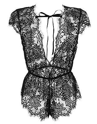Anyou Women Lingerie V Neck Lace Teddy Bodysuit Mini Babydoll Features Plunging Eyelash XS-XXL