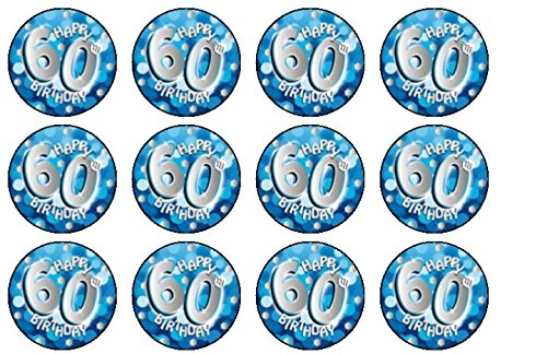 Image Unavailable Not Available For Colour Blue 60th Birthday Edible Fairy Cup Cake Toppers