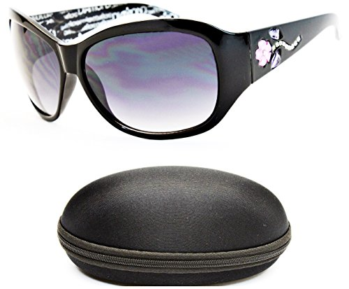 D1053-cc Diamond Eyewear Oversized Butterfly Sunglasses (O2069B Black-Smoked, - Ladies Black Sunglasses