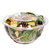 [50 Sets - 32 oz.] Disposable Plastic Salad Bowls to Go with Airtight Lids