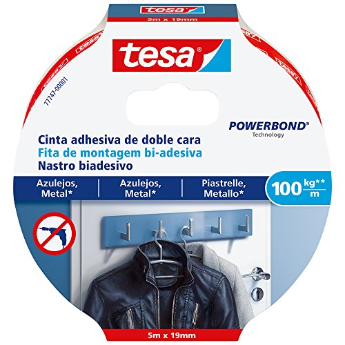 Tesa 777470000100Double-Sided Tape for Tiles and Metal (100kg/m)