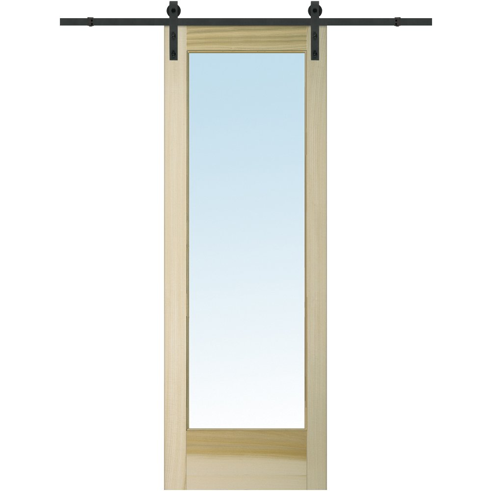 National Door Company Z020176 Barn Door Unit, Unfinished Poplar Wood, 1 Lite, Clear Glass, 36'' W x 96'' H