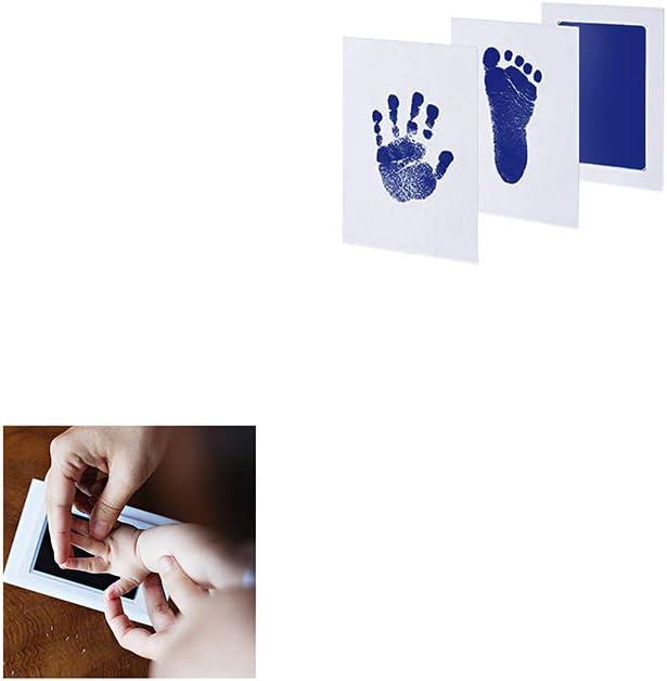 Yisily Inkless Babyprints Neugeborene Baby-Handprint Und Abdruck Photo Frame Kit Mit 1 Stempelkissen Und 2 Impressum Karten Gro/ß F/ür Neugeborene Jungen Und M/ädchen Light Blue 1 Set