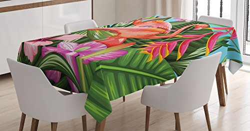 Flamingo Decor Tablecloth by Ambesonne, Illustration of Flamingo with Tropical Garden Hibiscus Flower Plant Vintage Print, Rectangular Table Cover for Dining Room Kitchen, 52x70 Inch, Green Pink Blue